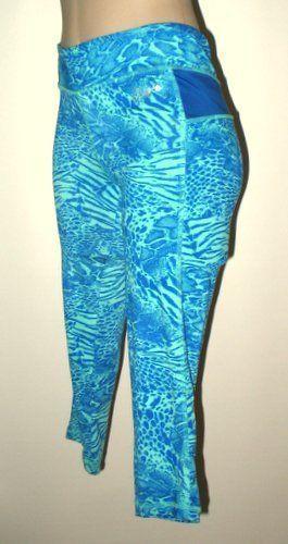 AERO Aeropostale Animal Print Best Booty Cropped Leggings M Aqua Cobalt Blue #AeroAeropostaleAthletic #Croppedleggings