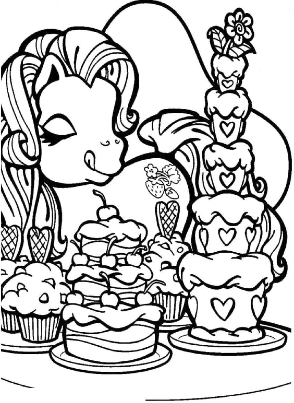 My Little Pony Love Cake Coloring Pages Coloring page