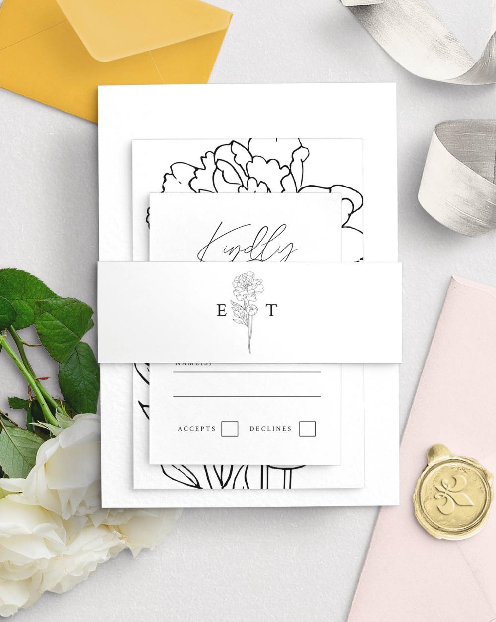 Peony Wedding Invitation Belly Band Template (11x2
