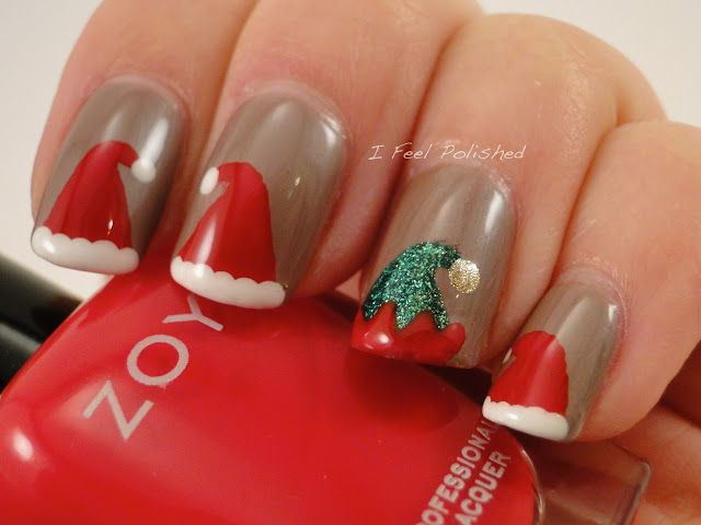 Santa Hat and Elf Hat Nails | #christmasnails #nailart #christmasnailart  #xmasnails - Santa Hat And Elf Hat Nails #christmasnails #nailart