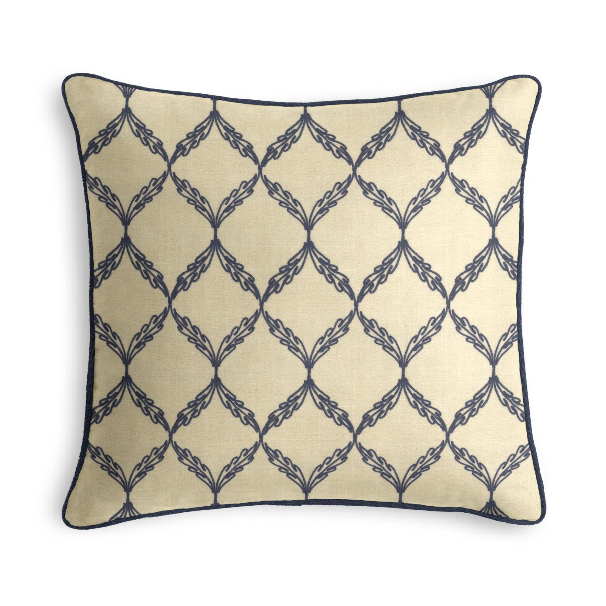 Blue Embroidered Trellis Corded Throw Pillow   #loomdecor