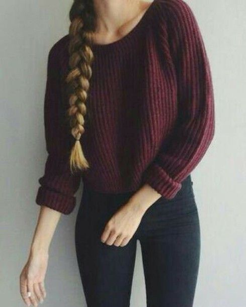 Sweater: braid knitted burgundy fall skinny jeans black jeans ...
