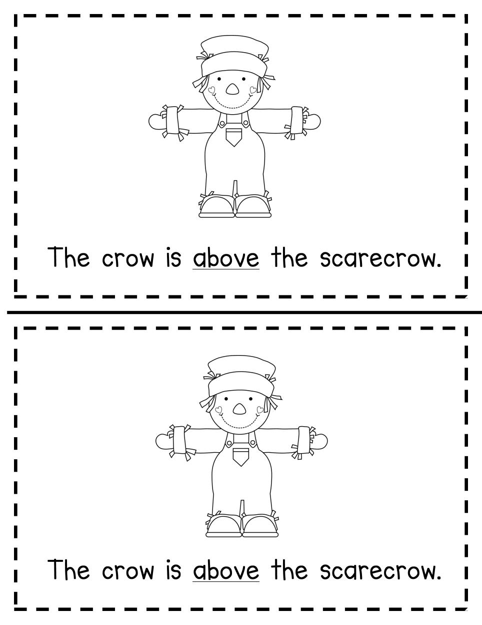 Worksheets Positional Words Worksheets For Kindergarten fall positional word book pdf scarecrow crafts pinterest pdf