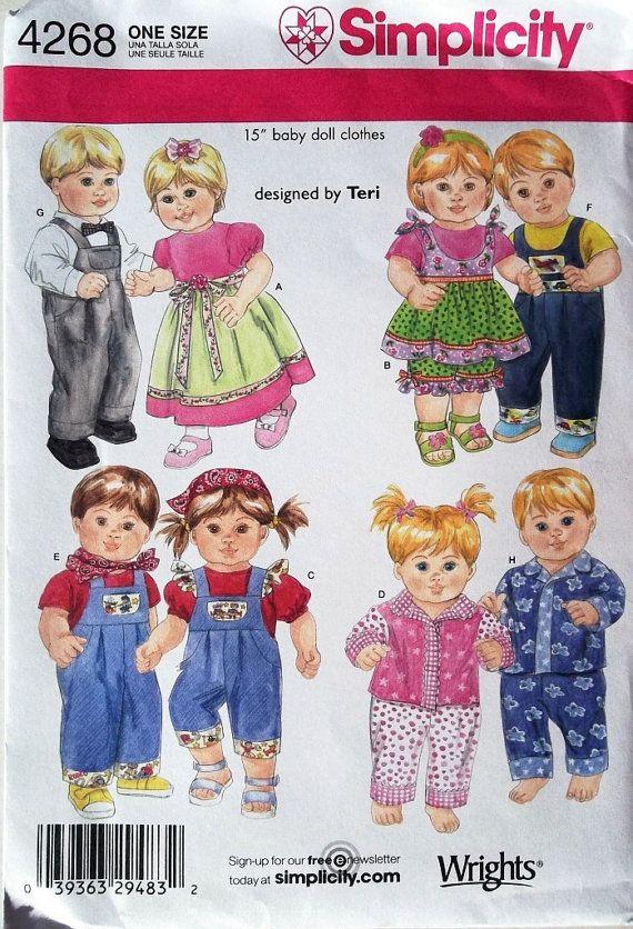 15 Inch Twin Doll Clothes Pattern Boy Girl Doll Clothes Pattern Simplicity Sewing Pattern 4 Baby Doll Clothes Patterns Baby Doll Clothes Bitty Baby Clothes