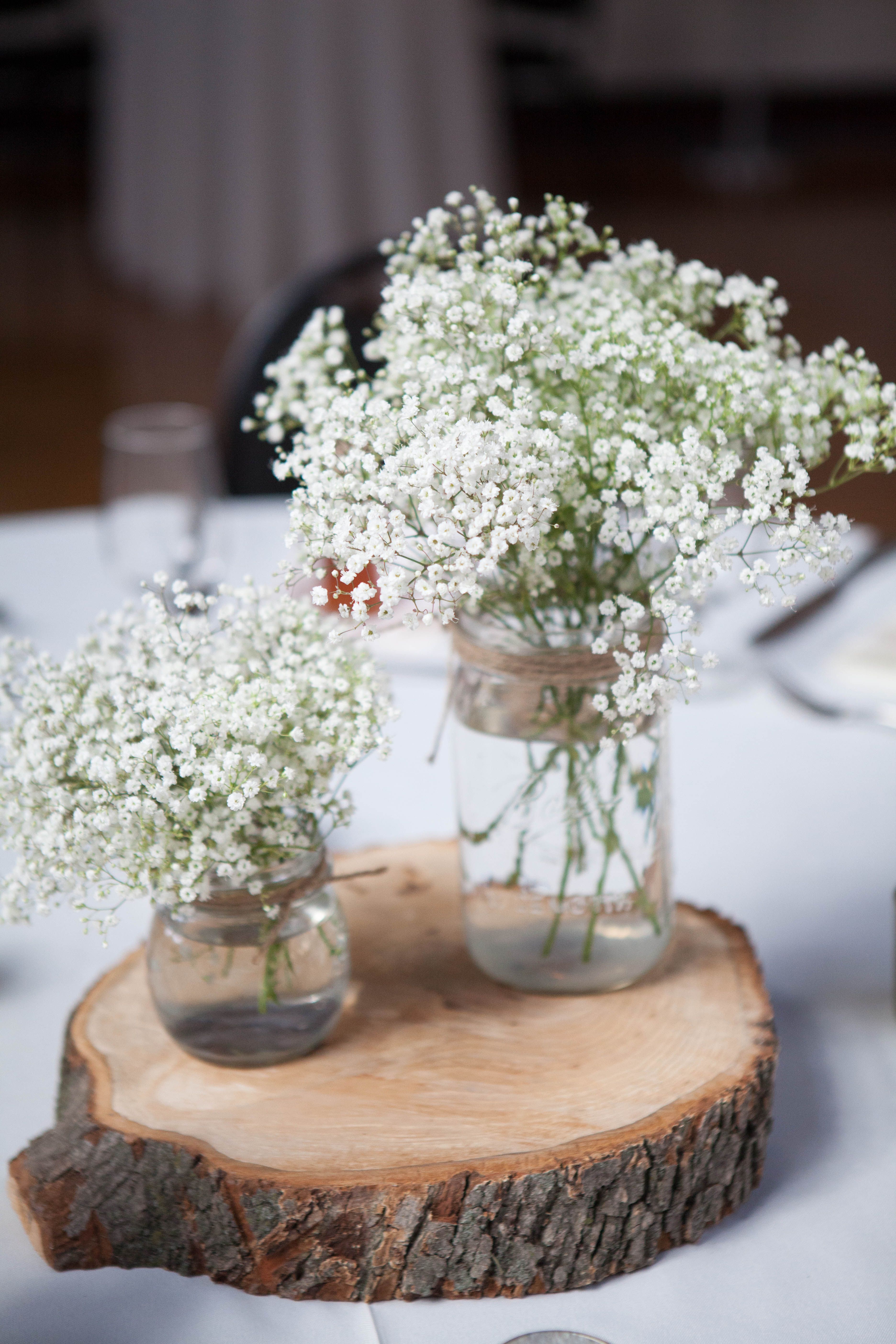 Rustic mason jar baby s breath and wood centerpieces