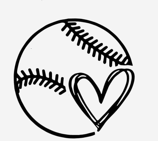Personalize Anything With This Baseball Softball Heart Show Your Love For The Game Cricut Projects Vinyl Softball Crafts Diy Cricut