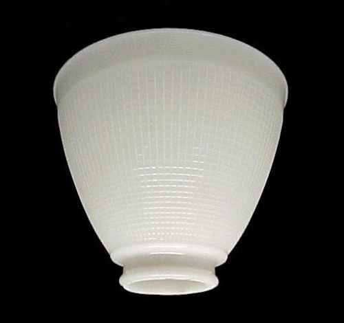 White Milk Glass Ies Reflector Lamp Shade Waffle Pattern 6 Wide