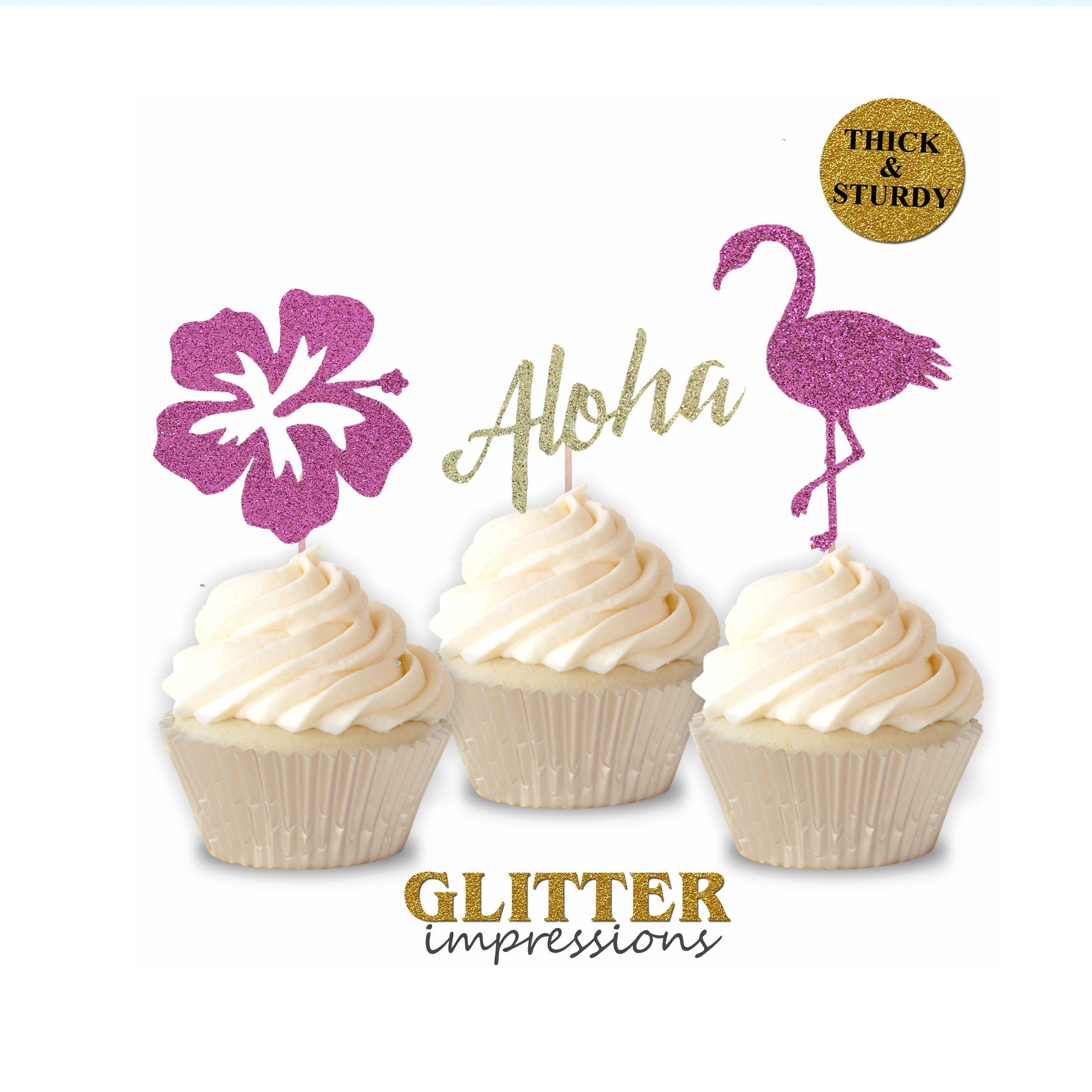 Hawaiian Themed Party Cupcake Topper Glitter Aloha Cupcake Topper