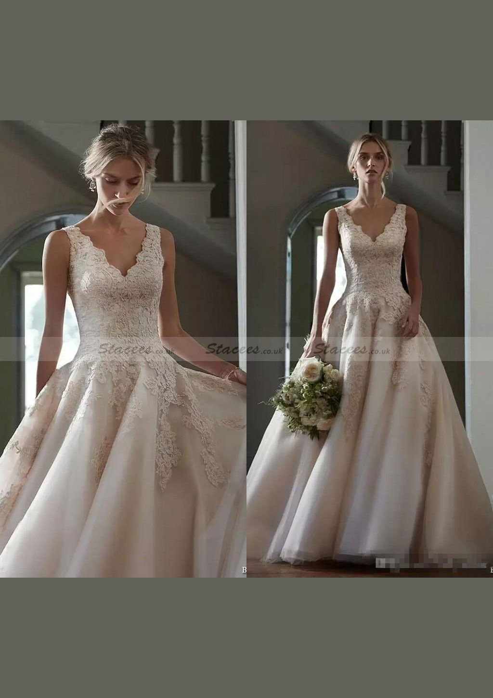 Chiffon wedding dress alineprincess vneck court train with