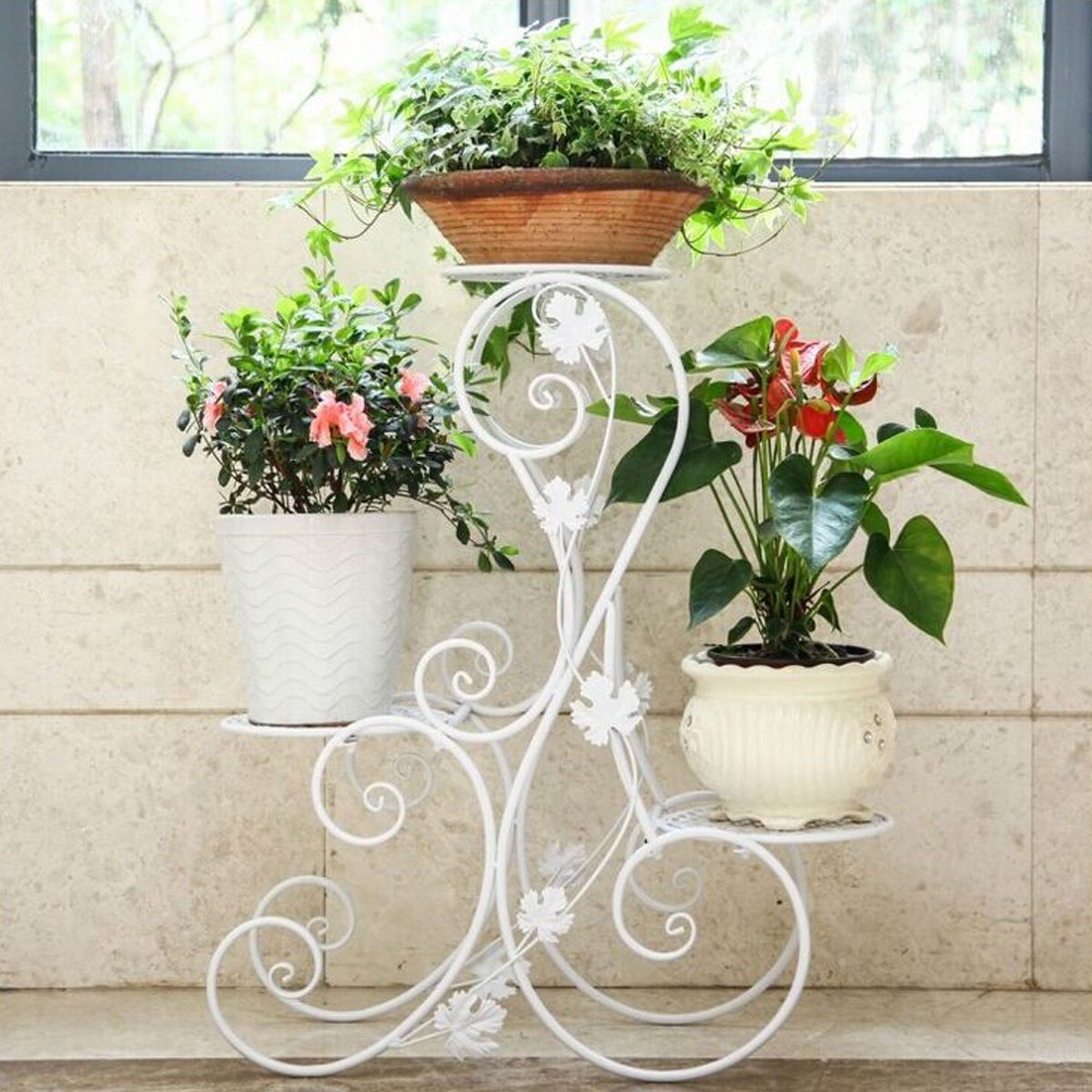 Green Metal Plant Stand 3 Tier S Design White Floor Standing Pot Plant Stand