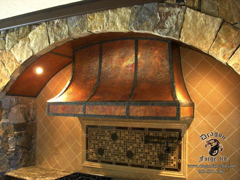 Copper Stove Hoods | Convexed Kitchen Stove Hood Copper And Metal   Dragon  Forge LTD .