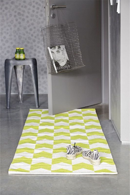 NEW YORK CITY cotton rug in lemon/white available in