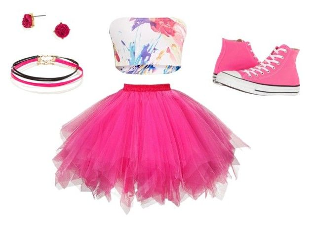 """""""Pink it Out"""" by izzybear31 ❤ liked on Polyvore featuring Converse, BaubleBar and Forever 21"""