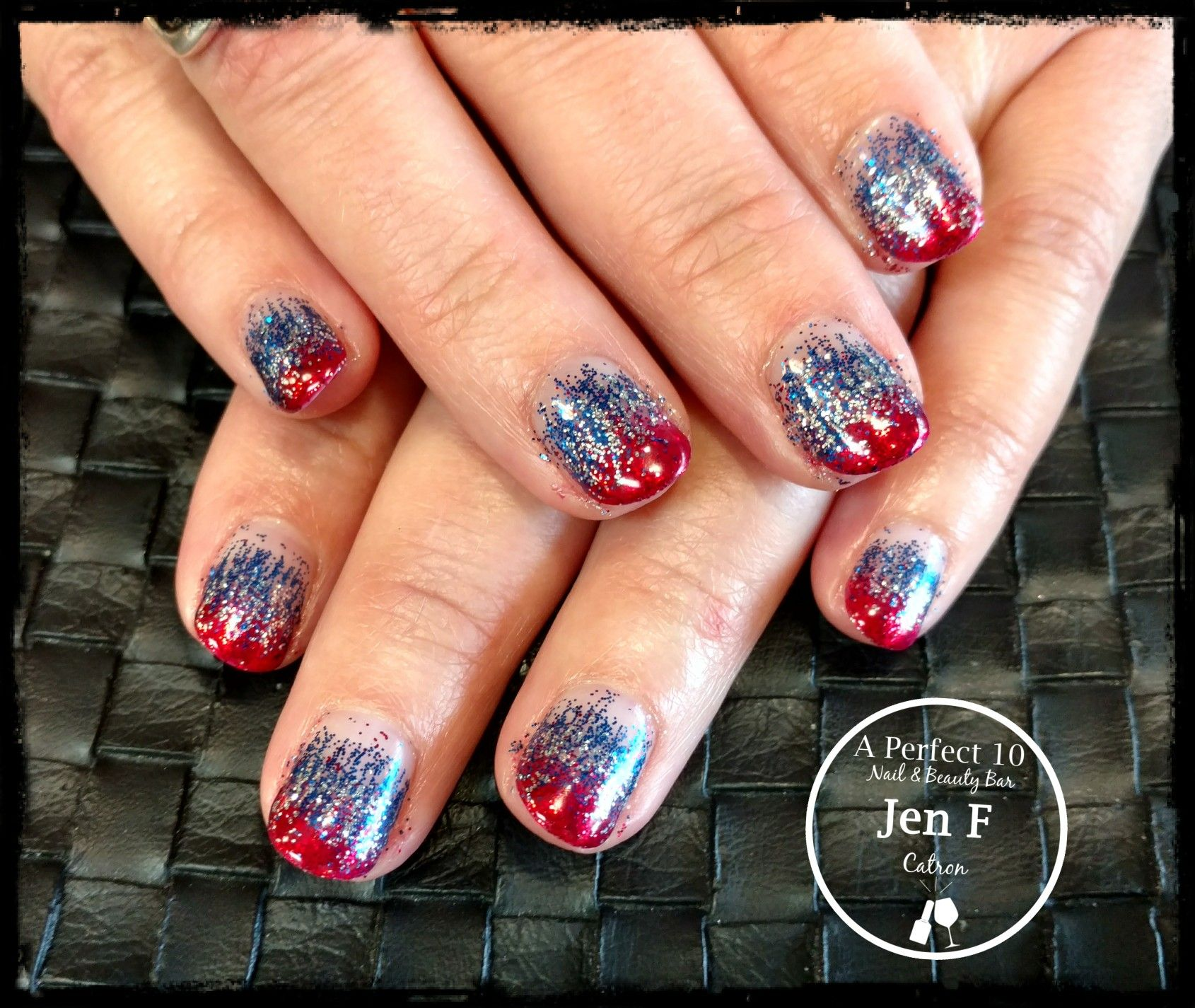 Red White And Blue Glitter Ombre Nail Art Ombre Nails Glitter Nail Art Ombre Ombre Nails