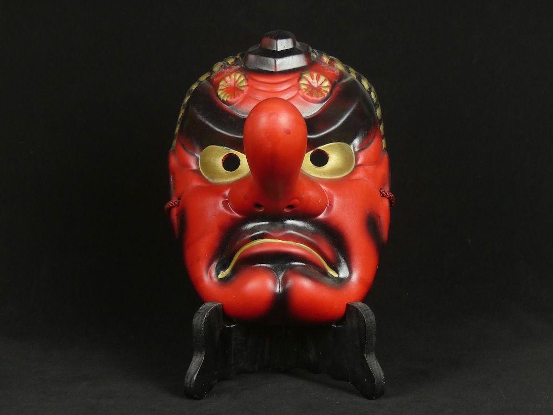 Masque Tengu En Ceramique Theatre No Masque Japonais Theatre No Masque Theatre