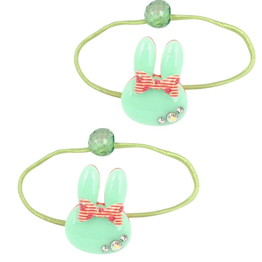 Rabbit Ear Bead Bowknot Decor Stretchy Ponytail Holder 2 Pcs Green * Read more reviews of the product by visiting the link on the image.