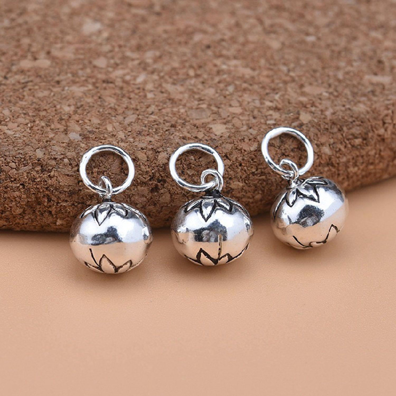 1/2/4/8/10pcs Sterling Silver flower jingle bell charm