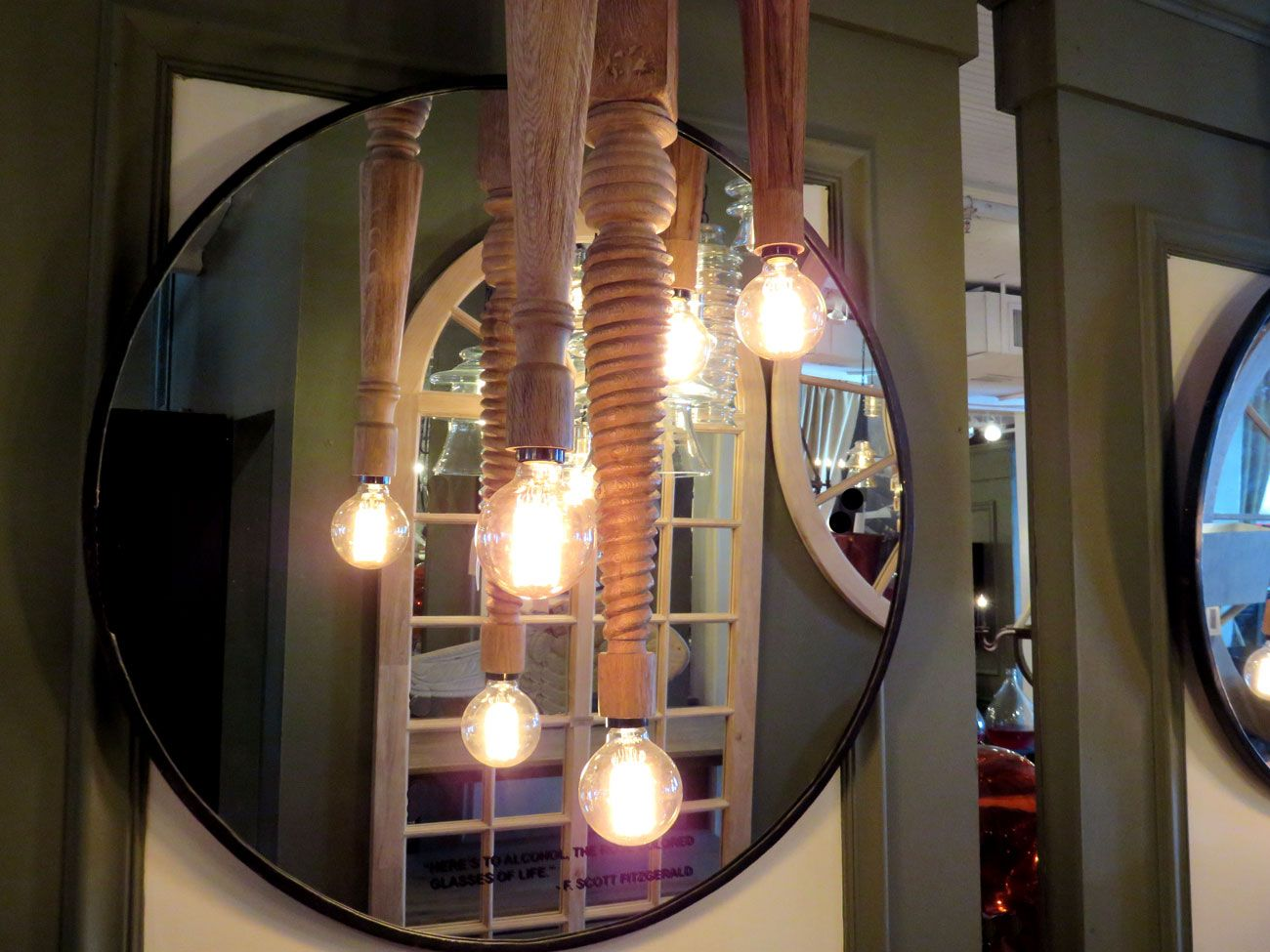 Wood Table Leg Pendant Lights