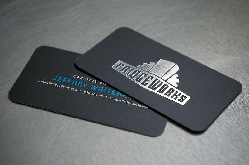 Foil Stamped Logo On Black Paper Business Card By Fridgeworks