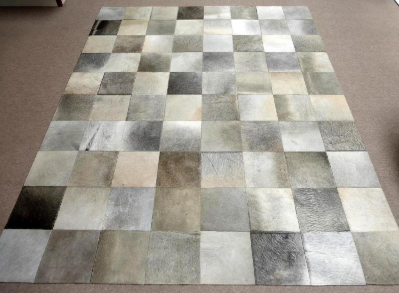 Beige grijs patchwork koeienhuid tapijt 200 x 250 cm home