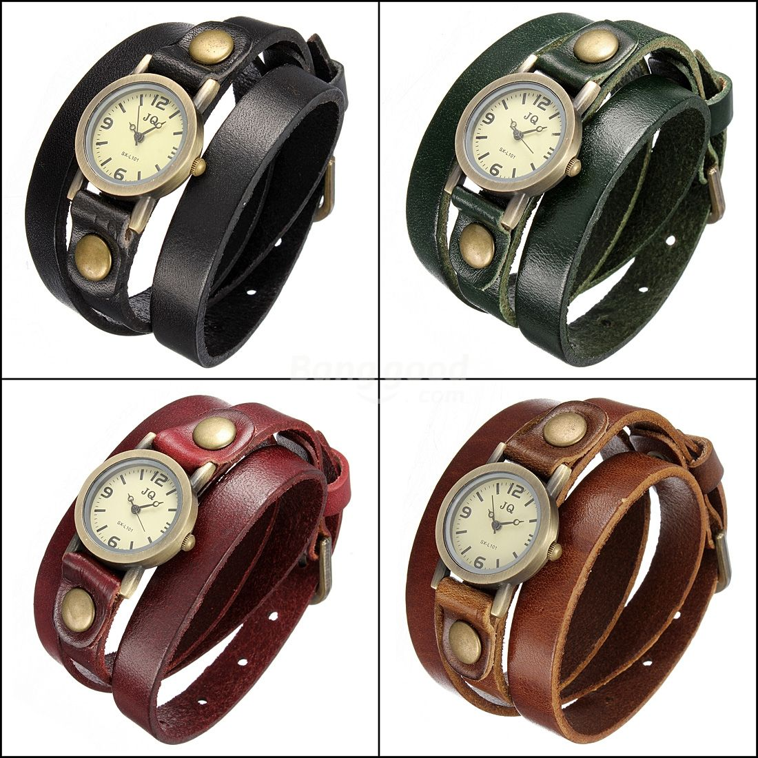 Fashion Retro Leather Band Wound Casual Style Quartz Watch 4 Colors Free Shipping!  - US$4.99