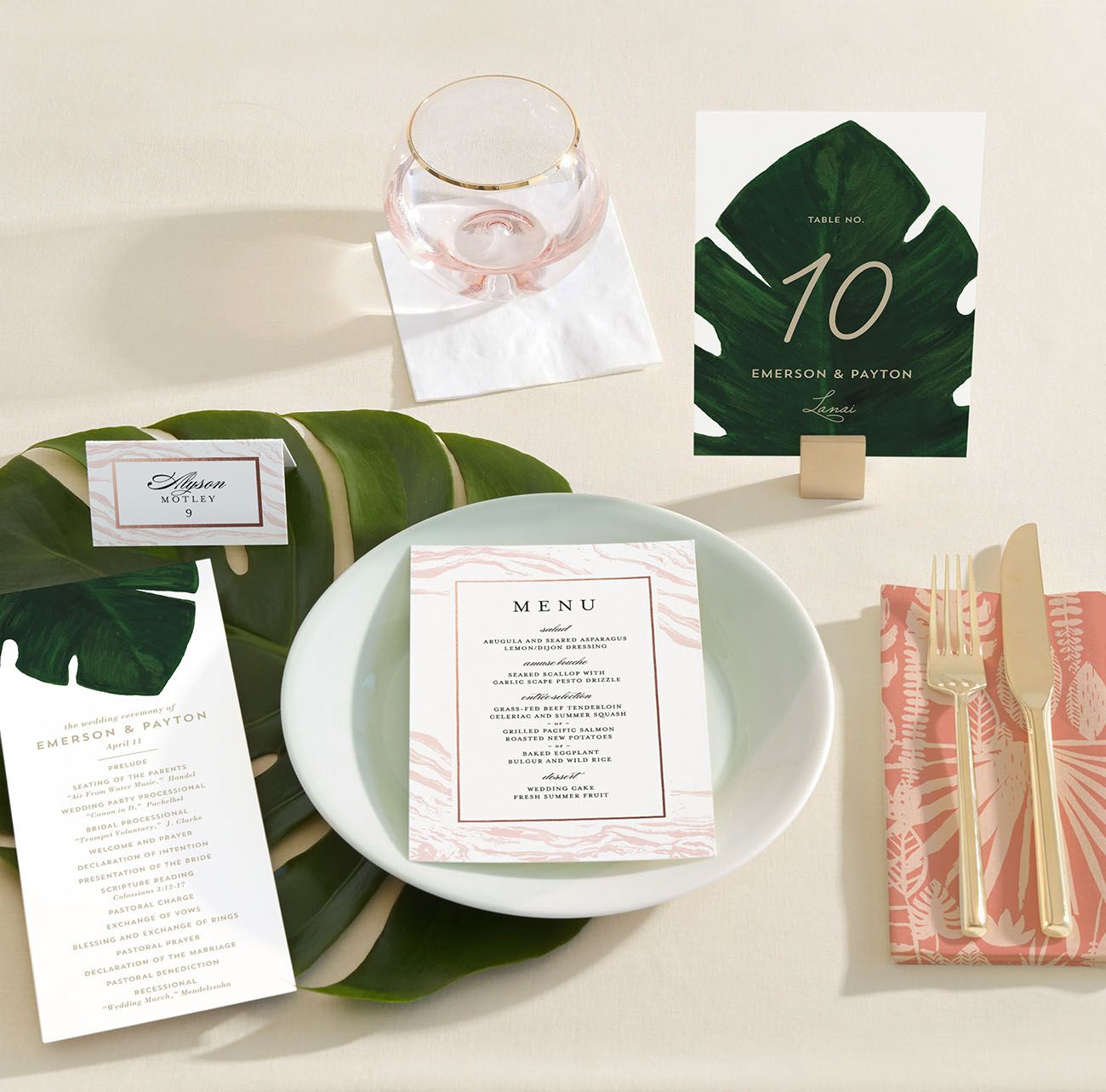 time wedding invitatiowording%0A Minted tropical invitation suite  menu  escort cards  place cards