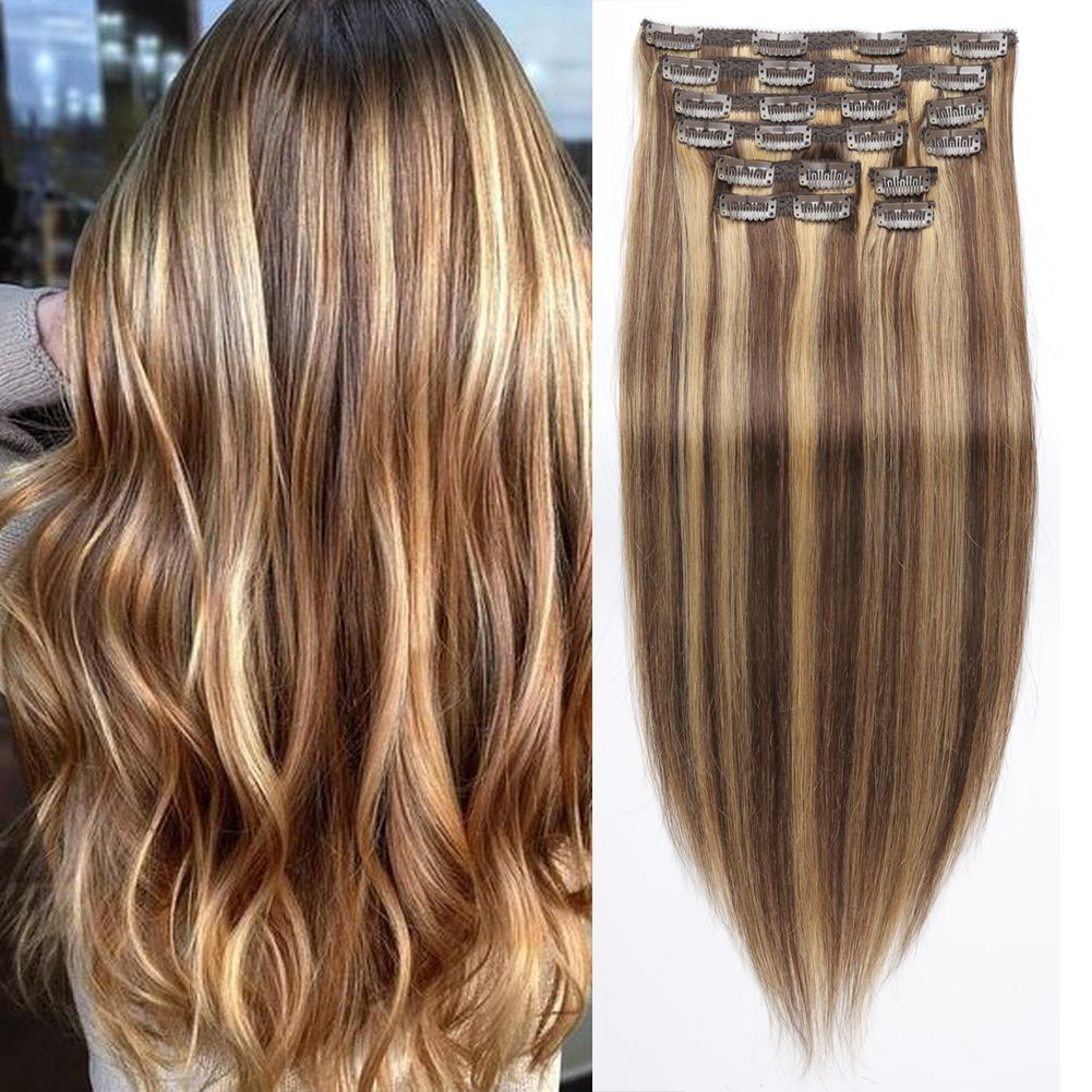 Two Tone Remy Cheap 100 Human Remy Clip In Hair Extension P4 27
