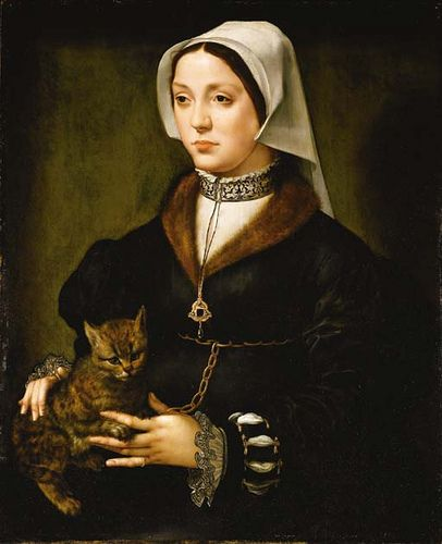 Portrait of a lady, three-quarter-length, wearing dark costume and a headdress, holding a cat Attributed to Ambrosius Benson (born in Lombardy, active Bruges 1519-d. 1550)