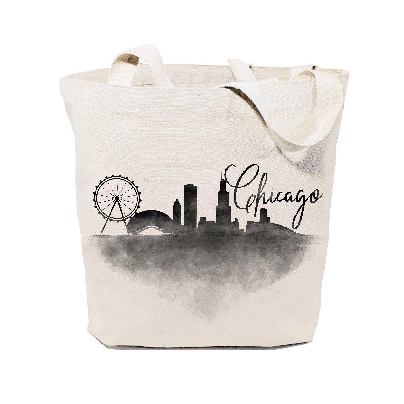 Cotton Canvas Chicago Cityscape Tote Bag