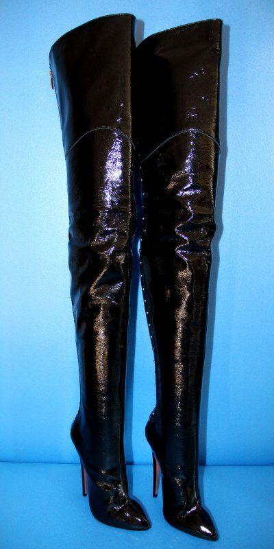 MORI Crotch Echtleder Overkneestiefel, schwarz, 39 Made in Italy, 14,5cm