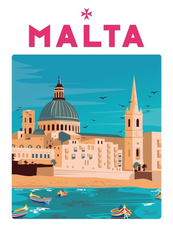 Vintage Malta Island of History Tourism Poster Print A3//A4