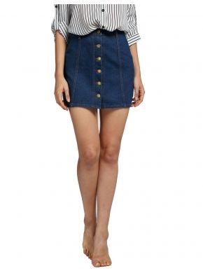 6e3fb7322a Vestido Mini falda de moda las mujeres Denim con botones talle alto ...