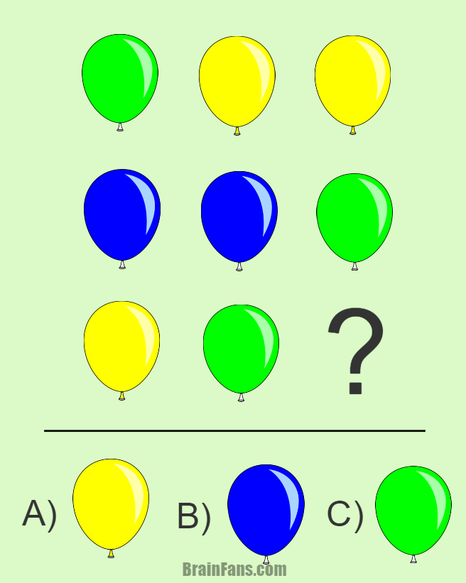 Brain teaser - Kids Riddles Logic Puzzle - riddle with balloons ...