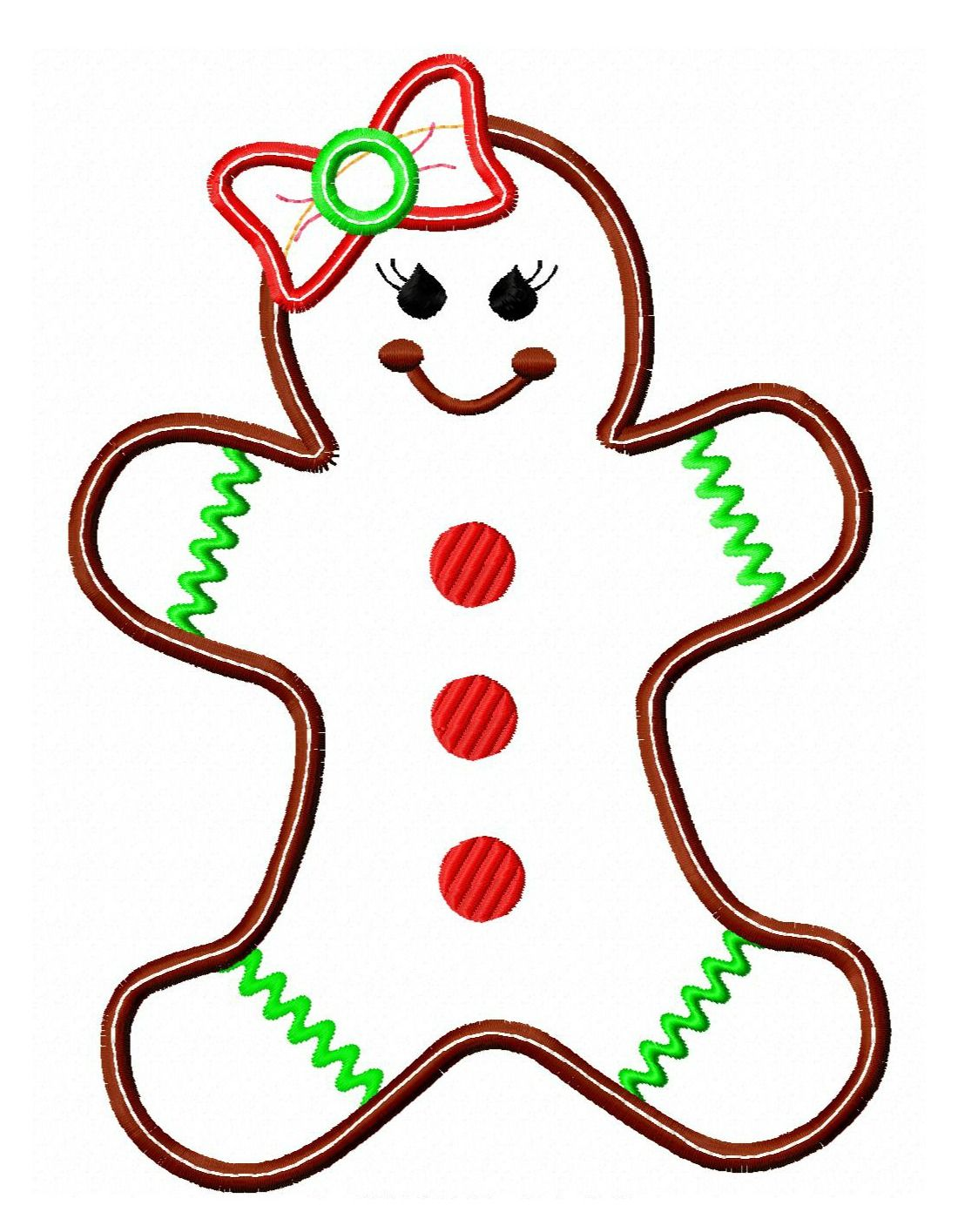 Gingerbread Girl Applique Christmas applique, Christmas