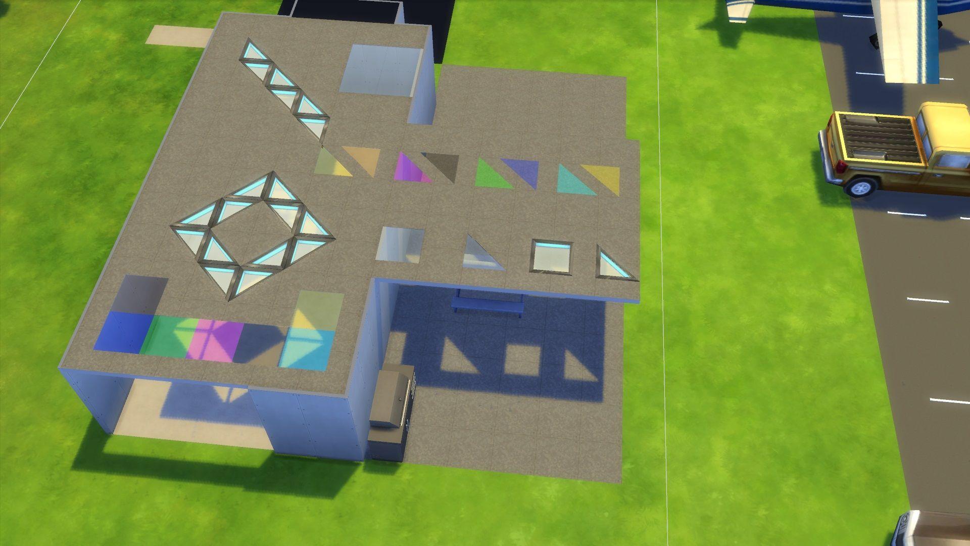 1x1 + diagonal (half tile) glass floor and dance floor