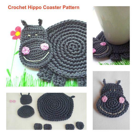 Hippo Pattern - Crochet Pattern -Crochet Coaster Pattern - Beginner ...