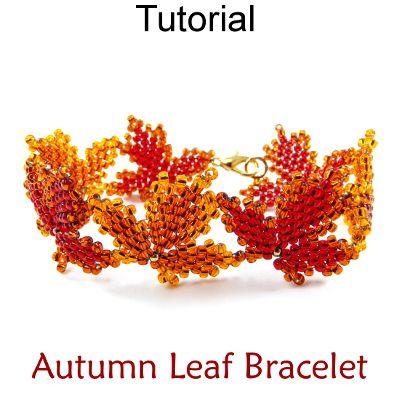 Fall Autumn Maple Leaf Beaded Bracelet Diagonal Peyote Beading Tutorial Pattern Instructions