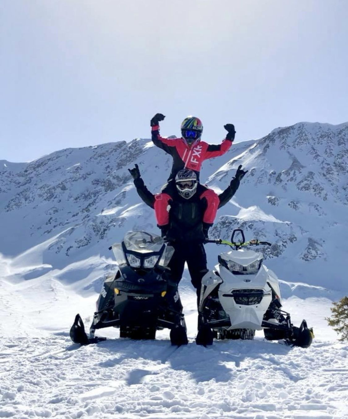 Sled photo Snowmobile couple Snowmachine couple Skidoo 600