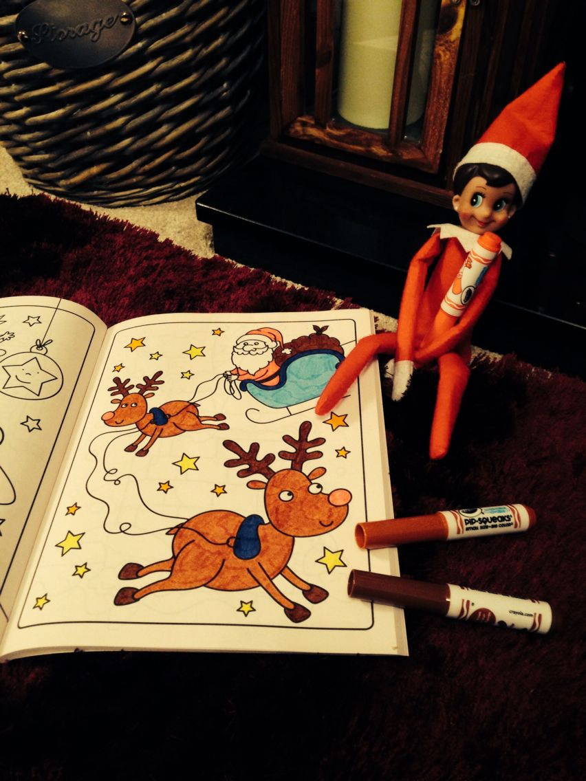 Elfie with a gift of a Christmas colouring book   Elf on the shelf ...