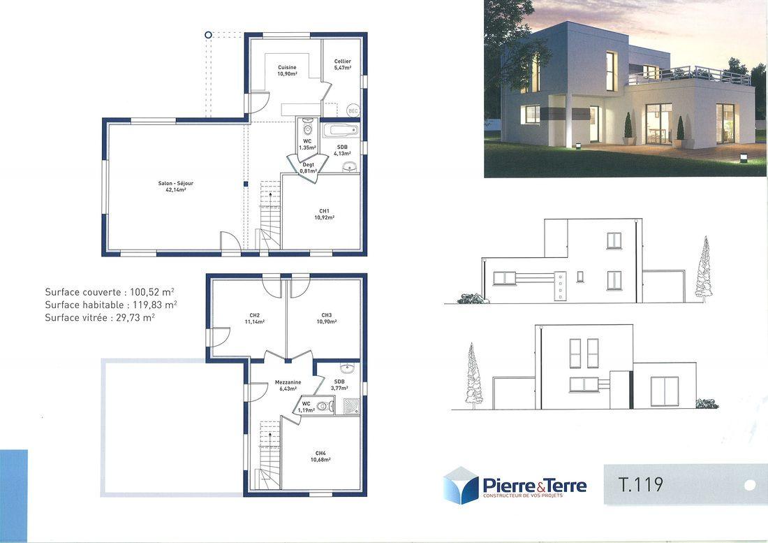 R sultat de recherche d 39 images pour plan 100m2 villas for Plan de maison avec cuisine ouverte