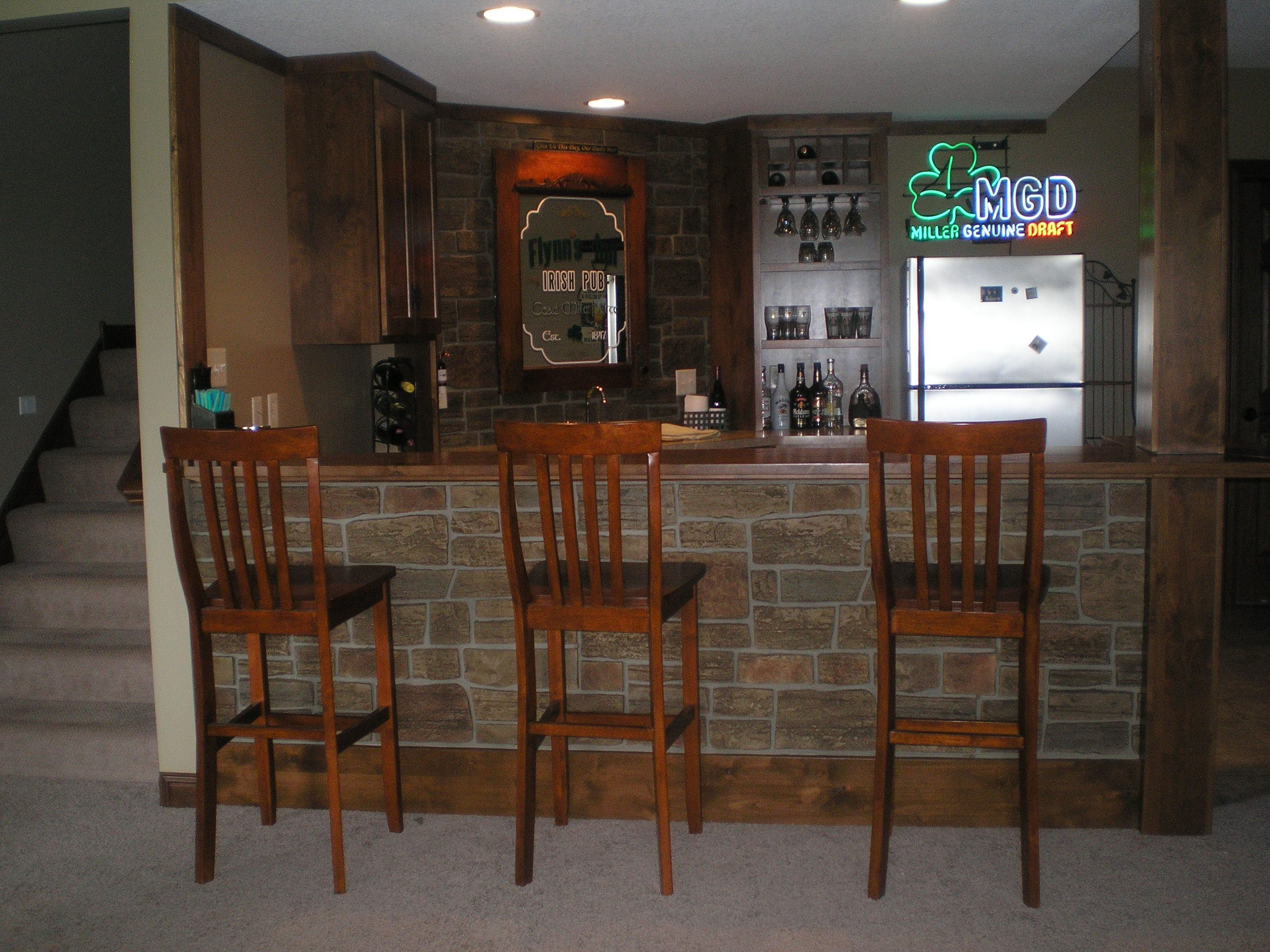 Beautiful Basement Home Bar With Irish Pub Appeal Stone Veneer - Simple basement bars