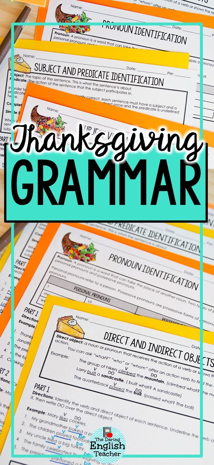 Thanksgiving Themed Grammar Worksheets   Middle School Language Arts ...
