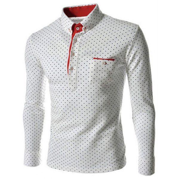 Stylish Turn-dwon Collar One Pocket Polka Dot Print Long Sleeves Polyester Polo  Shirt For Men