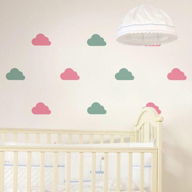 wandtattoo wolken 18x wandtattoo wolken set pastell. Black Bedroom Furniture Sets. Home Design Ideas