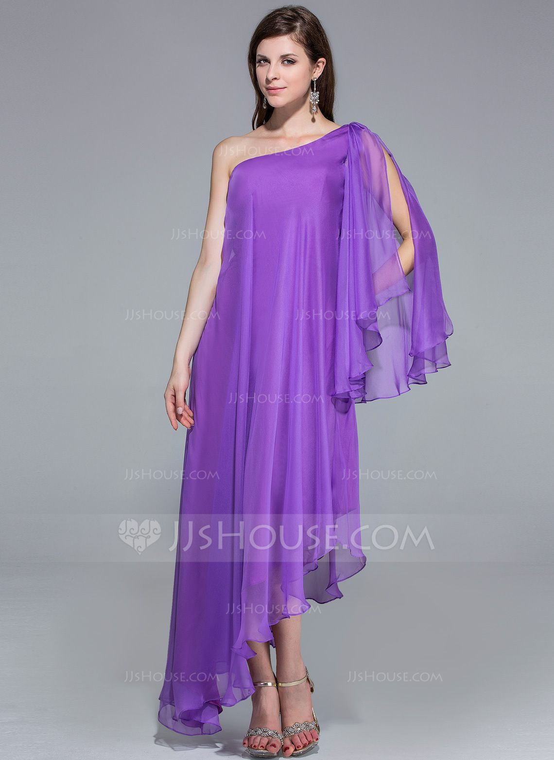 A-Line/Princess One-Shoulder Asymmetrical Chiffon Evening Dress ...