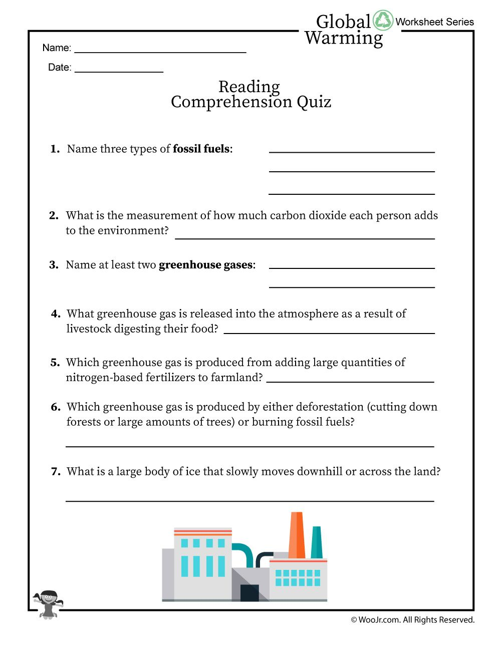 Global Warming Reading Comprehension Quiz Woo Jr Kids Activities Global Warming Project Global Warming Climate Change Lesson [ 1294 x 1000 Pixel ]
