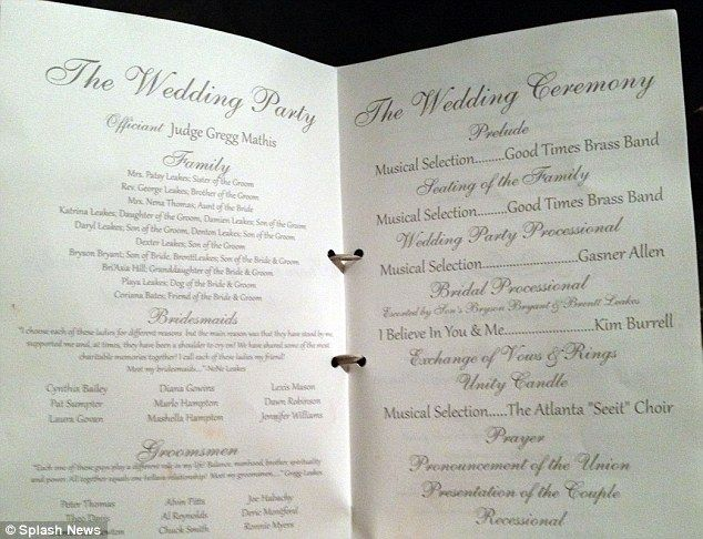 Cast Of Characters The Wedding Program Featured A Lengthy Description Whos Who From Officiant