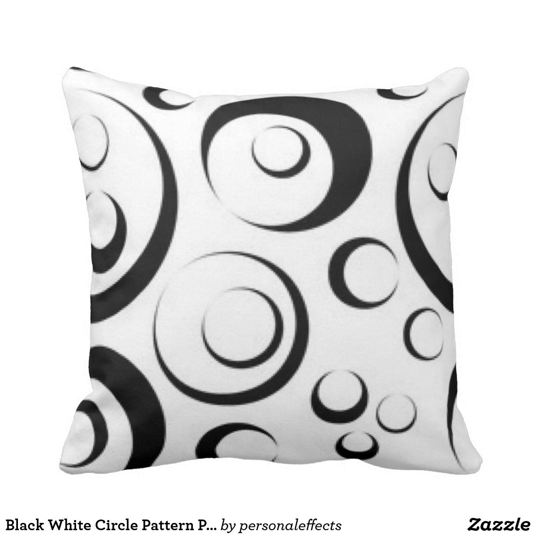 Black white circle pattern print throw pillow circle pattern