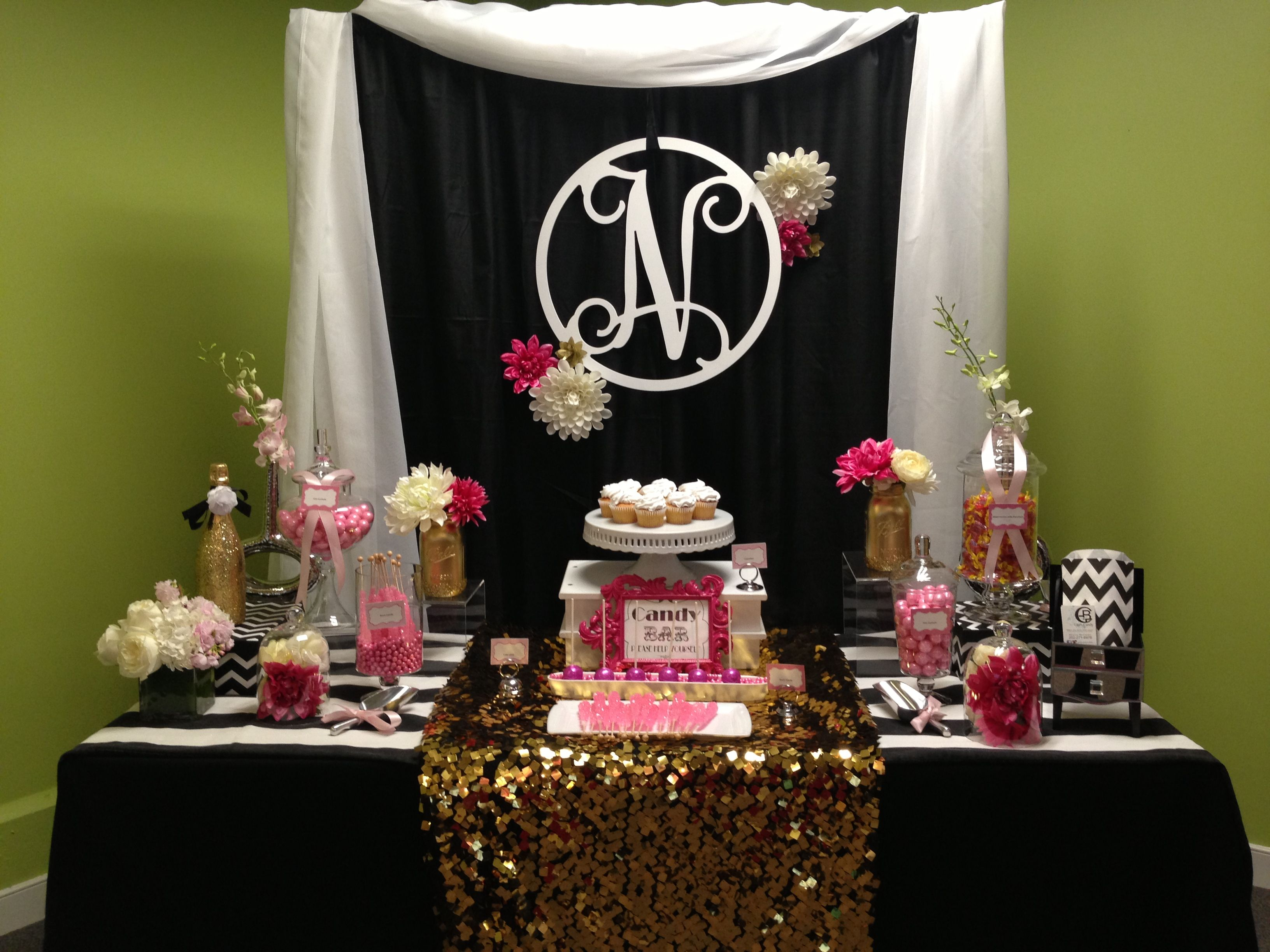 black white pink and gold candy table designed by glam candy buffets