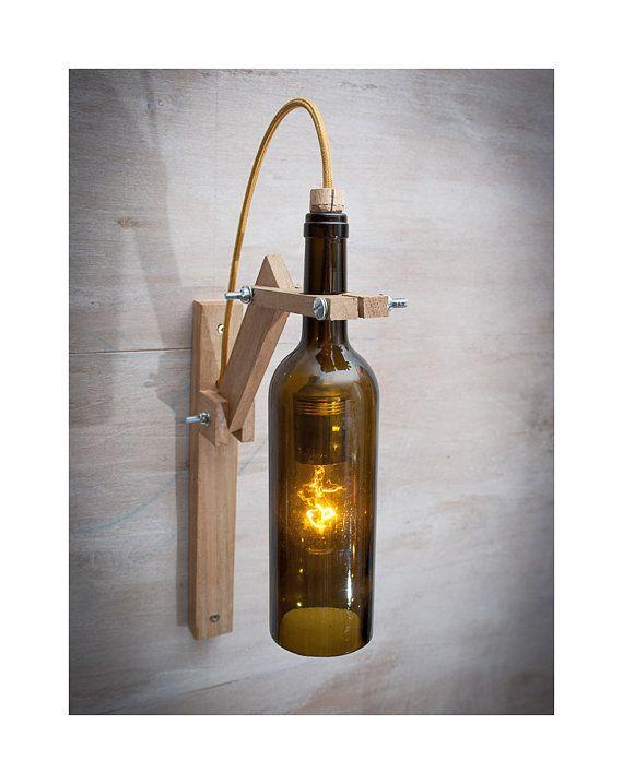 Bottiglia Marrone Legno Parete Lampada Lampada Di Di Eunadesigns Wine Bottle Lamp Wine Bottle Wall Bottle Lamp